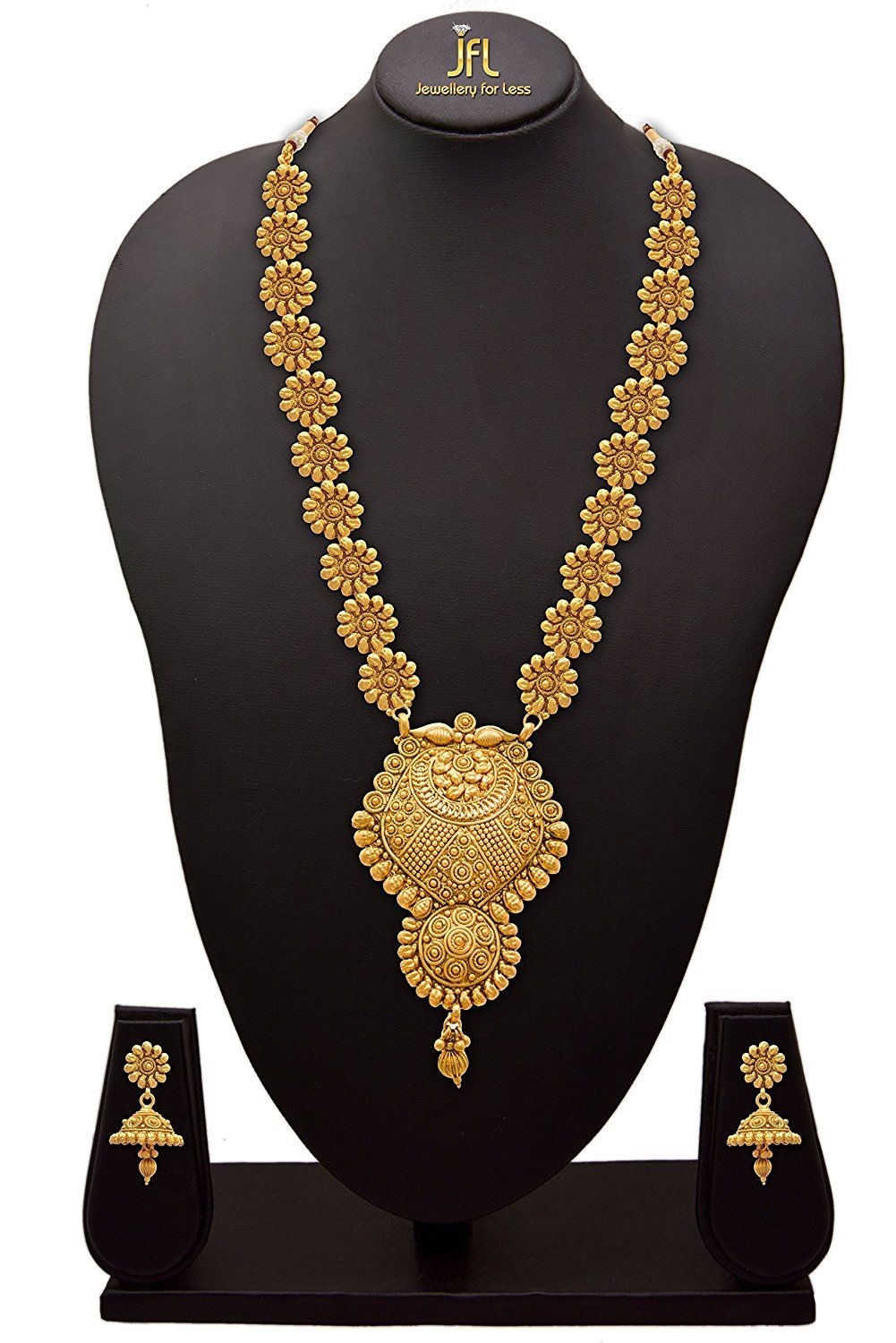 e68f6e7fd4 Traditional ethnic one gram gold plated flower floral designer long women's  necklace.<br> This necklace is made from copper alloy and 22k one gram gold  ...