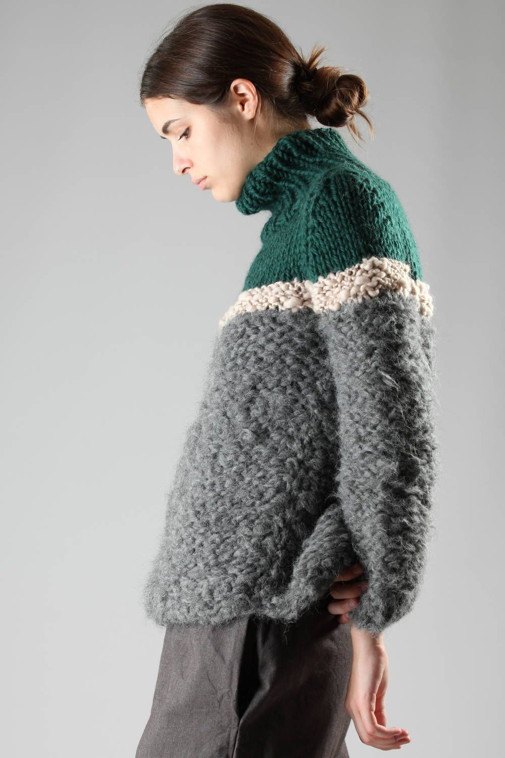GUDRUN & GUDRUN - Turtle-Neck Wide Sweater In Hand-Knitted Virgin ...