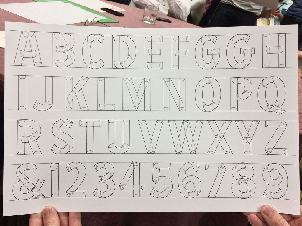 John Downer's alphabet showing sign painter's stroke constructions
