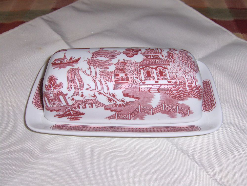 Churchill Butter Dish Red Pink Blue Willow Pattern Made in England # Churchill & Churchill Butter Dish Red Pink Blue Willow Pattern Made in England ...
