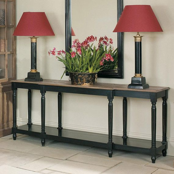Upton Weathered Oak Top Console Table, Black