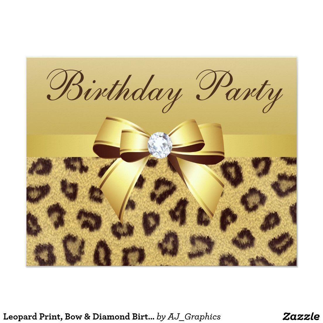 Leopard Print, Bow & Diamond Birthday Party Card | Graduation ...