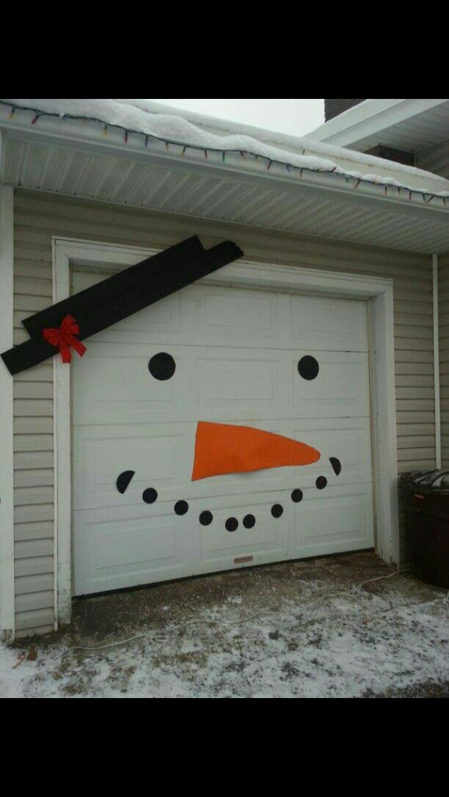 Snowman Garage Door Snowman Christmas Decorations