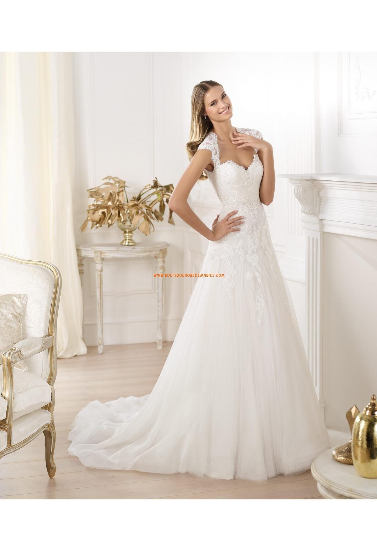 Robe de mariee avec manche courte dentelle