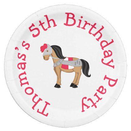 sc 1 st  Pinterest & Hear Ye Brunette Knight Horse Paper Plate