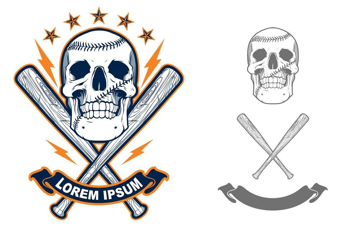 Skull with Baseball bats Skull illustration, Baseball