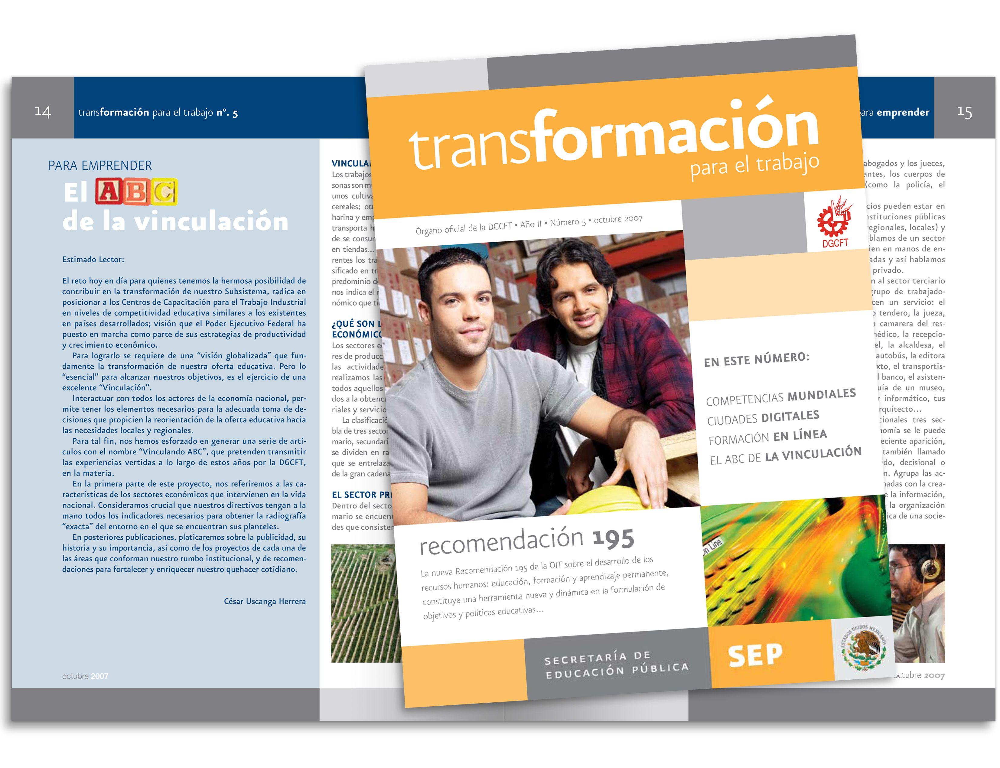 """Diseño editorial - Stop Diseño Gráfico - Diseño de Revista """"Transformación para el trabajo"""", SEP."""