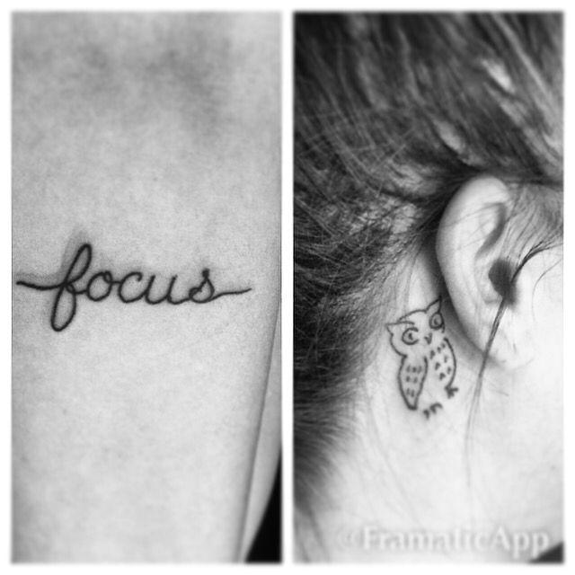 """Simple Minimalist Owl Tattoo: Small Tattoos. """"Focus"""" In Cursive And Simple Owl. Black"""