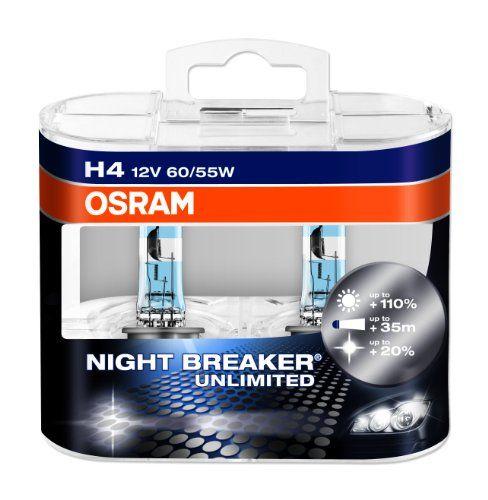 Osram Night Breaker Unlimited H4 Halogen Scheinwerferlampe 64193nbu Hcb 110 Mehr Licht Und 20 Weisseres Licht Im 2er Set Osr Scheinwerfer Lampe Osram Lampe