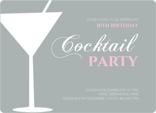 Martini Glass Cocktail Birthday Party Invitation