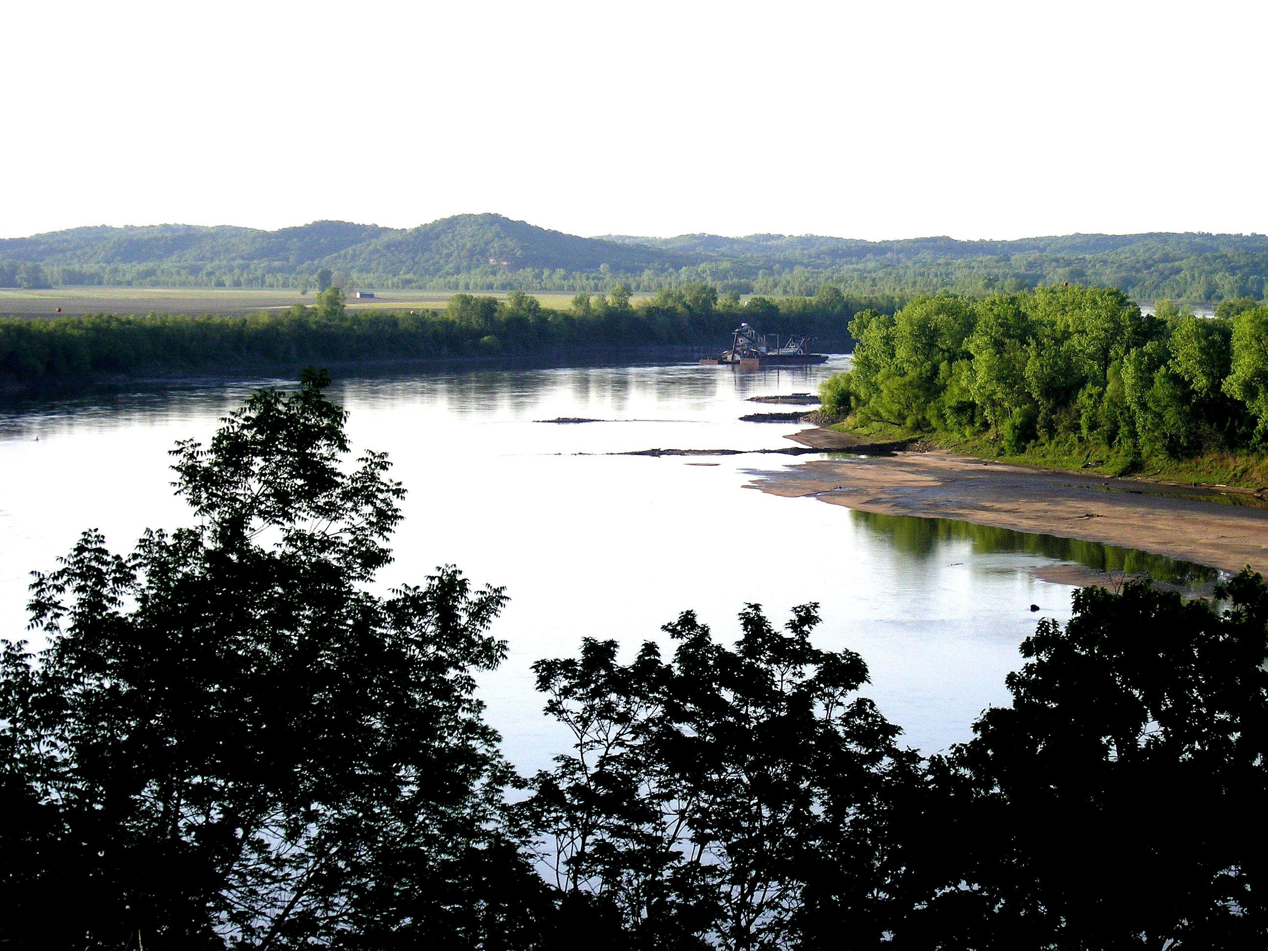 Barge On Missouri River Jefferson City Missouri Missouri