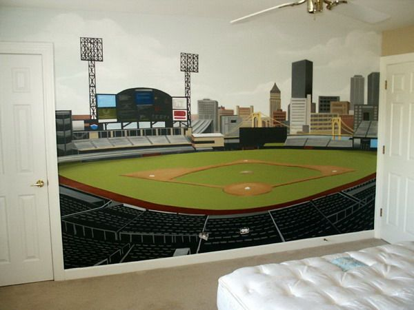 Modern Bedroom With Baseball Courtyard Landscape Design Wall Murals Themes