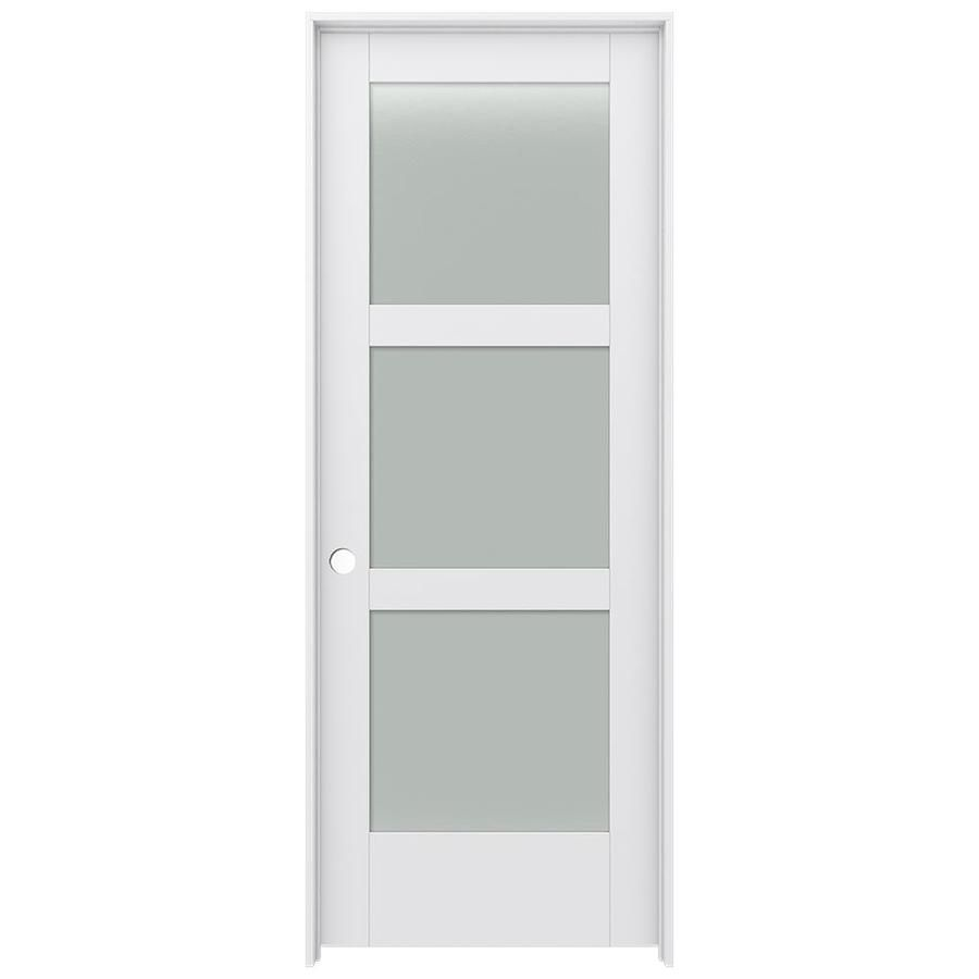 Jeld Wen Moda 1035w Primed 3 Panel Square Solid Core Frosted Glass Mdf Pre Hung Door Common 30 In X 80 In Actual 31 5625 In X 81 6875 In Lowes Com In 2020 Doors Interior Glass Pantry Door 3 Panel