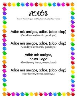 back to school spanish goodbye song student activity sheets and