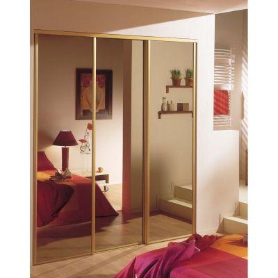 Porte coulissante miroir bronze sur-mesure, pour une ambiance - porte coulissante sur mesure prix
