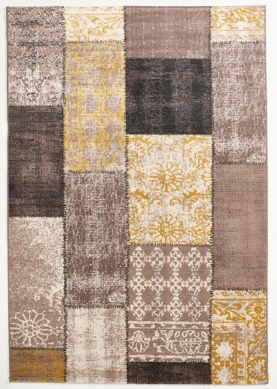Exceptional Vintage Teppich Patchwork Gelb Braun Gemustert 080x150 Cm, Frisee Modern    Klick Vinyl Nice Look