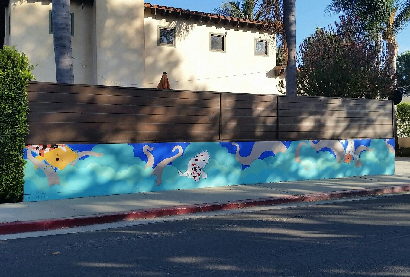 Here S A Cool Koi Fish Octopus Mural On A Private Residence On Vienna Way Glyndon Ct By Local Artist Season Los Angeles Neighborhoods Venice Beach Glyndon