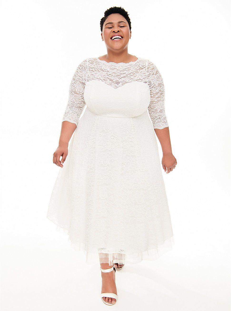 Ivory Lace Tea Length Wedding Dress White Lace Midi Dress Plus Size Brides Plus Size Wedding Gowns