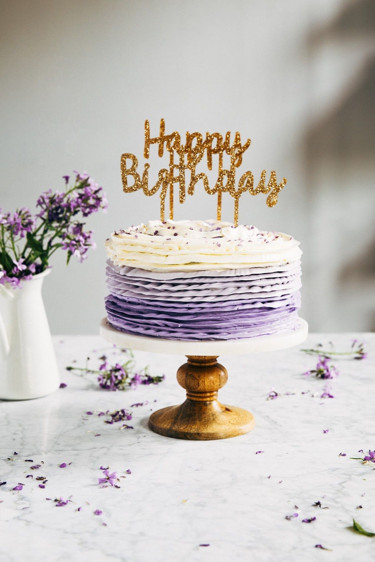 Brilliant 30Th Birthday Chocolate Cake With Lavender Ruffle Frosting With Funny Birthday Cards Online Drosicarndamsfinfo