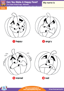 practice basic emotions with worksheets for the super simple learning halloween song can you make a happy face - Halloween Song For Preschool