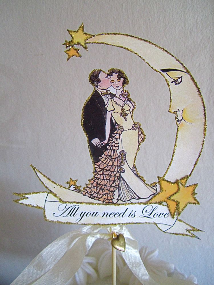 art deco wedding cake topper nouveau wedding cake topper crescent moon and 10838