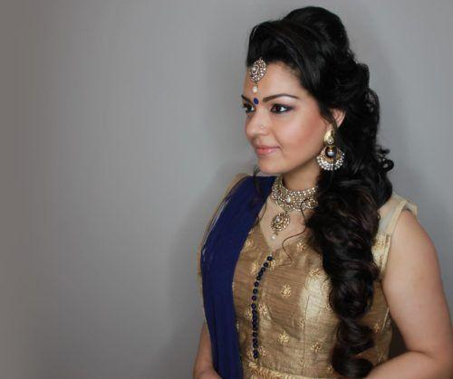 Maang Tikka Hairstyle With Puff And Mermaid Braid Indian Bridal