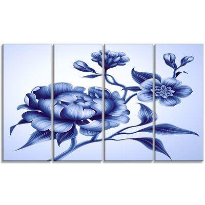 DesignArt 'Blue Peony Rose and Sakura Flowers' Graphic Art Print Multi-Piece Image on Canvas | Wayfair #bluepeonies