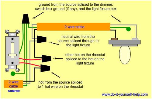 wiring diagram for a rheostat dimmer | Electrical | Light