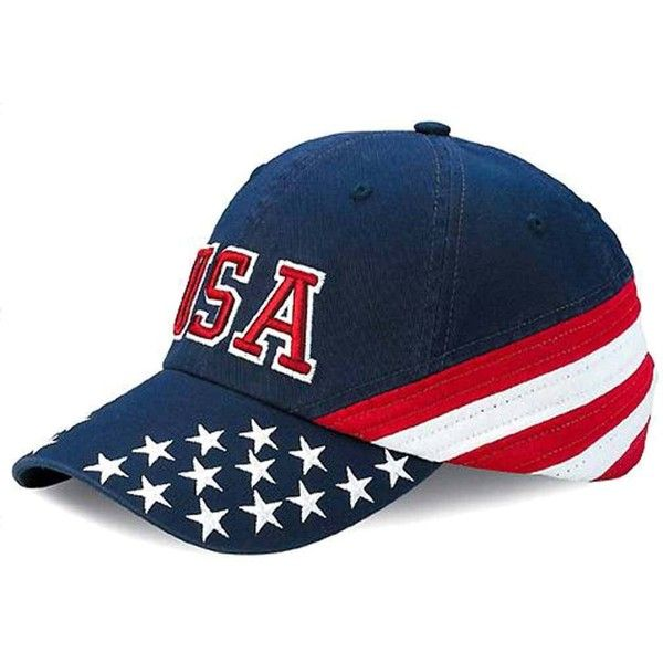 e9b82db7 Patriotic USA Red White & Blue Baseball Cap Hat ($19) ❤ liked on Polyvore  featuring jewelry, baseball, hats, antique gold jewellery, red jewellery,  ...