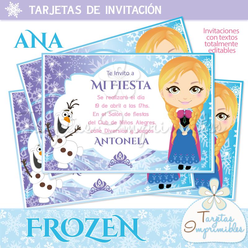 Invitaciones Personalizadas Frozen Con Textos Editables