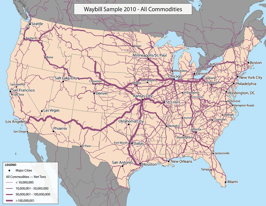 Railroad usage in the USA by US DOT map rail usa Mapy