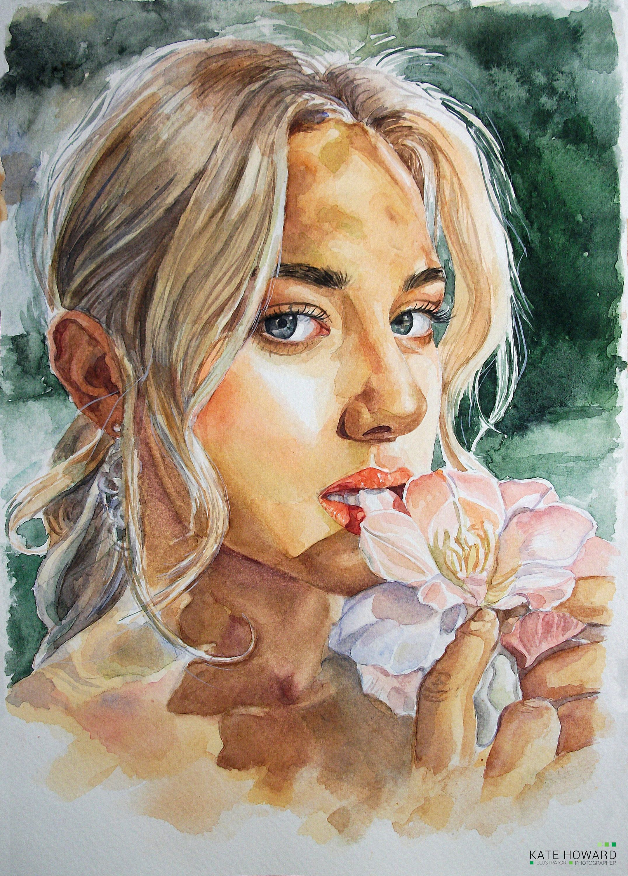 Custom Portrait Watercolor Portrait Painting Custom Woman