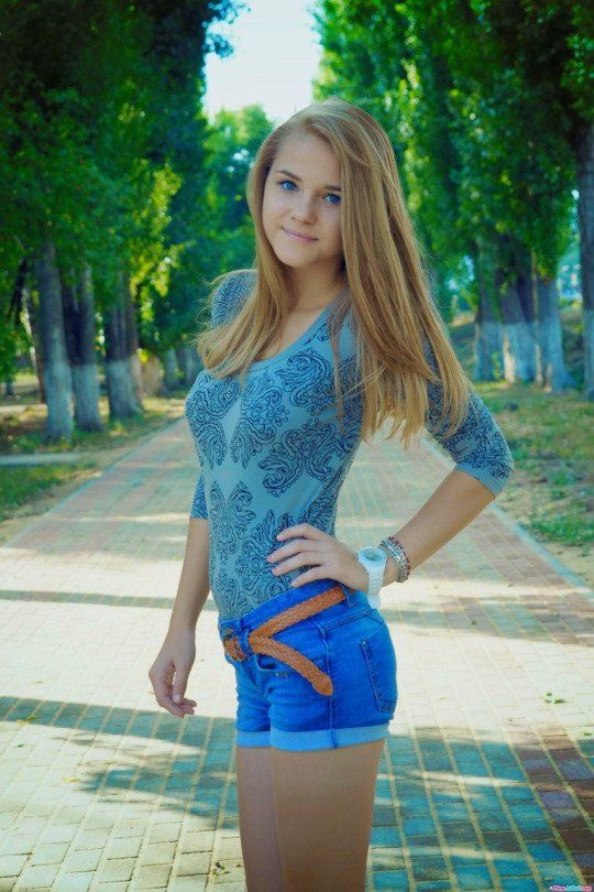 364skinny Little Teen Lovely Denim Shorts And Tight Shirt Showing Off Her Lovely Assets And Those Eyes