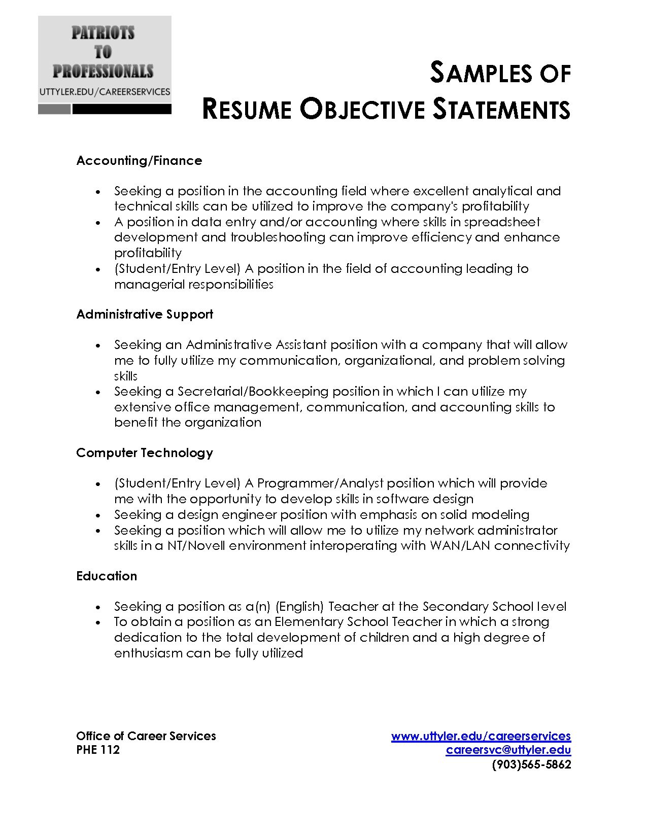 Resume Objective Example For Internship
