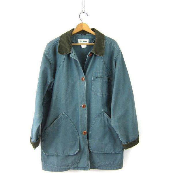 2a064b29d214a Vintage LL Bean Barn Coat Blue Green Denim Chore Jacket Ranch Coat ...