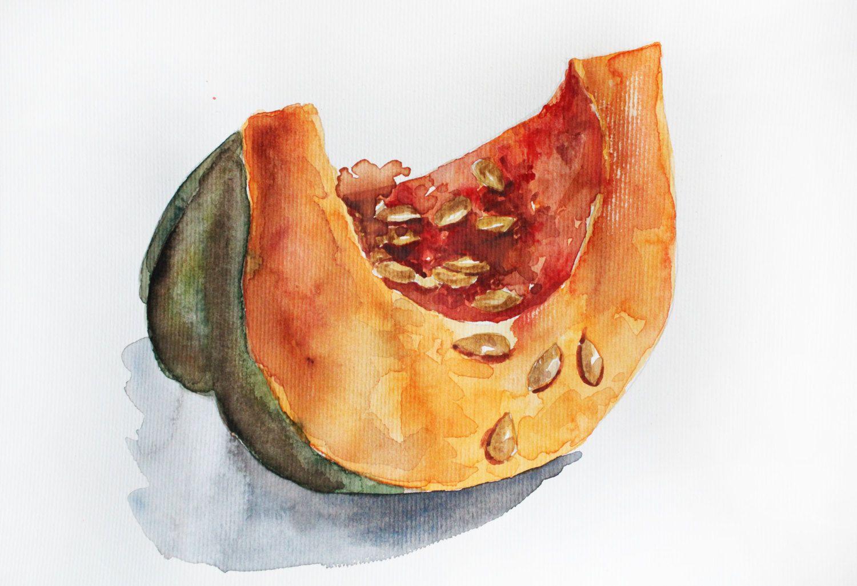 Original Watercolor Pumpkin Pumpkin Painting Kitchen Decor