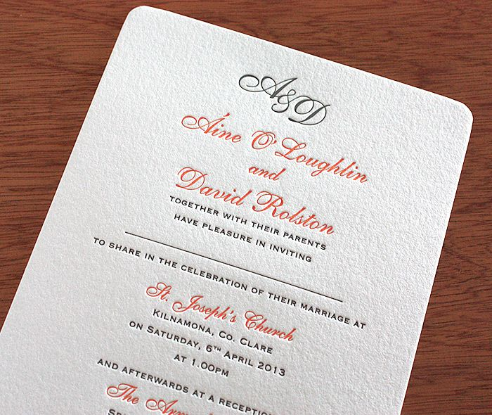Rounded Corner Letterpress Wedding Card With E To Write
