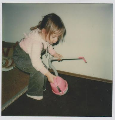 1978 Heather helping me at home in our Selkirk townhome. I wish I could remember who bought her a pink vacuum cleaner.