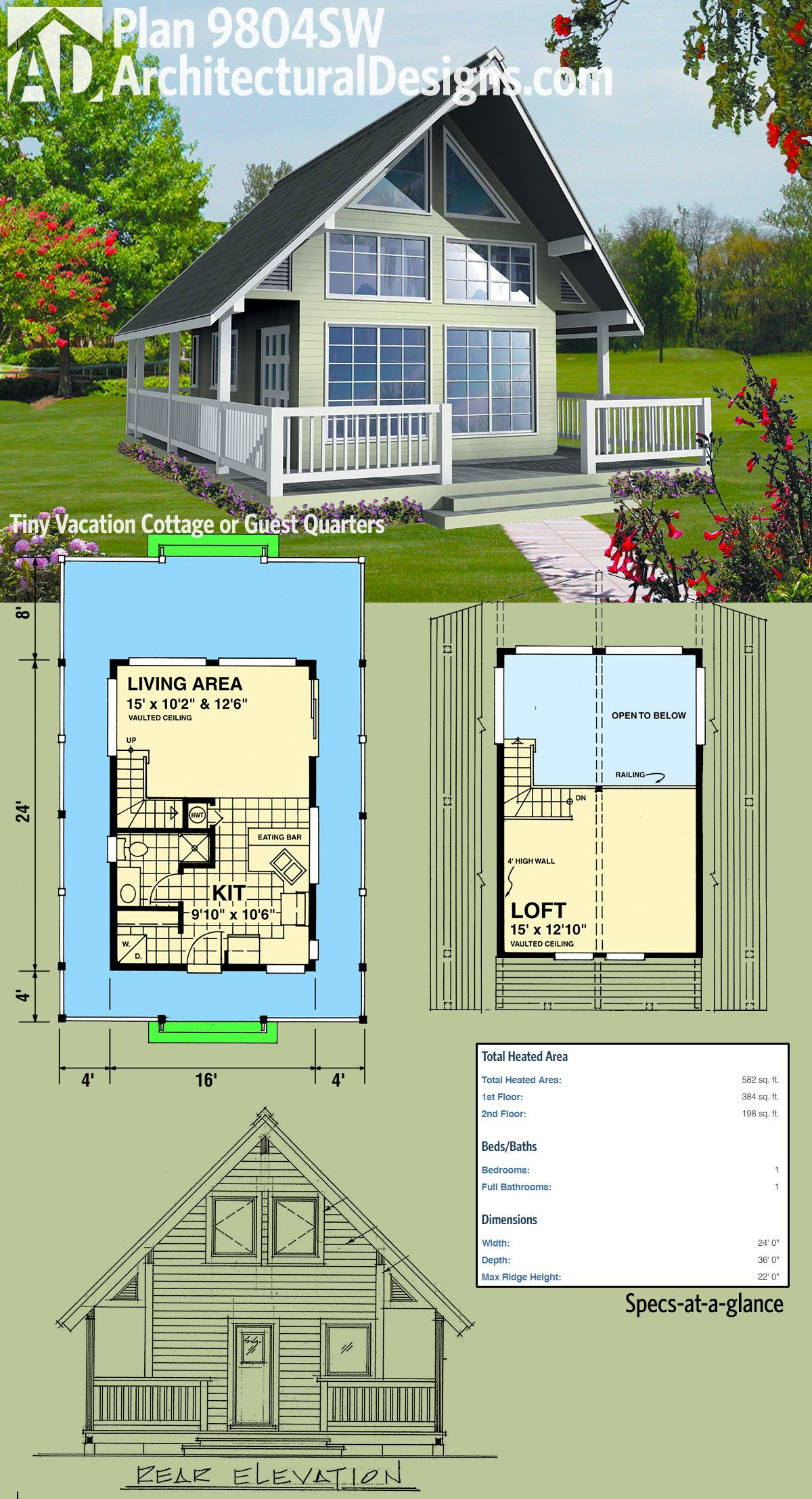 Plan 9804sw Vacation Cottage Or Guest Quarters A Frame House Plans Cottage House Plans Cabin House Plans