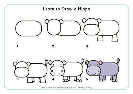 learn to draw a hippo classroom holidays pinterest learning