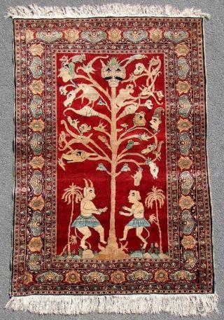 Heriz Rug Silk On Silk With Vak Vak Or Wak Wak Tree Iran Antique Mid 19th Century 140 Cm X 96 Cm Hand Knotted Lot Number 502 In My Auc Baum Persisch