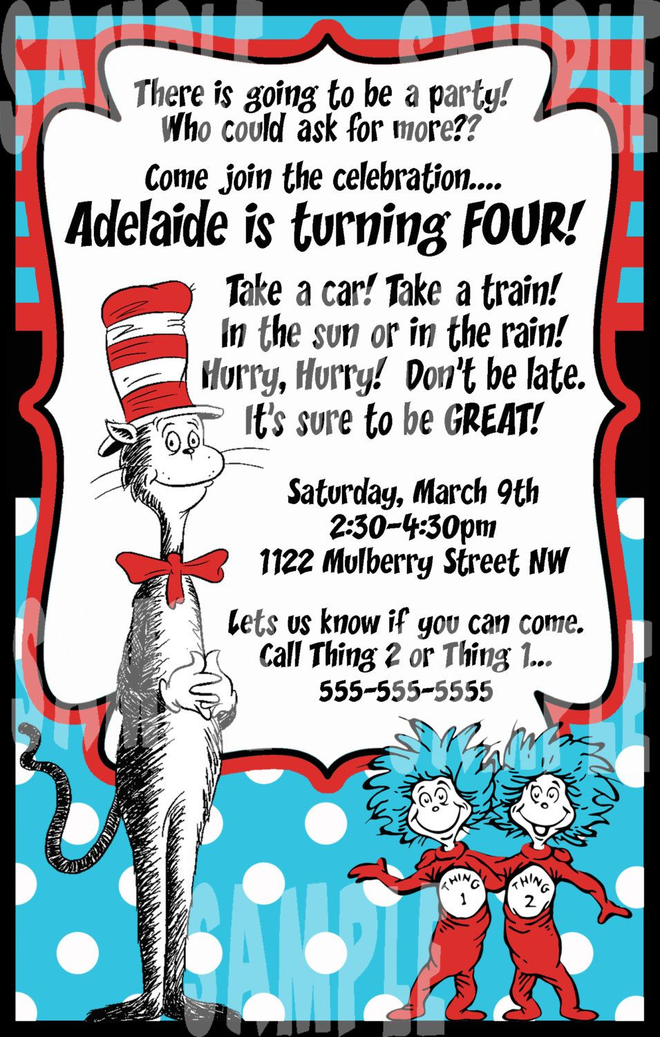 Dr. Seuss Cat In The Hat Birthday Party Invitation - (jpeg file ...