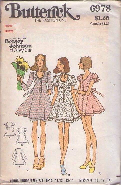 bf7a3834d262 Butterick 6978 Vintage 70's Sewing Pattern ADORABLE Young Designer Betsey  Johnson of Alley Cat Scoop Neck Button Band Flirty Flared Skirt Tie Back  Mini ...
