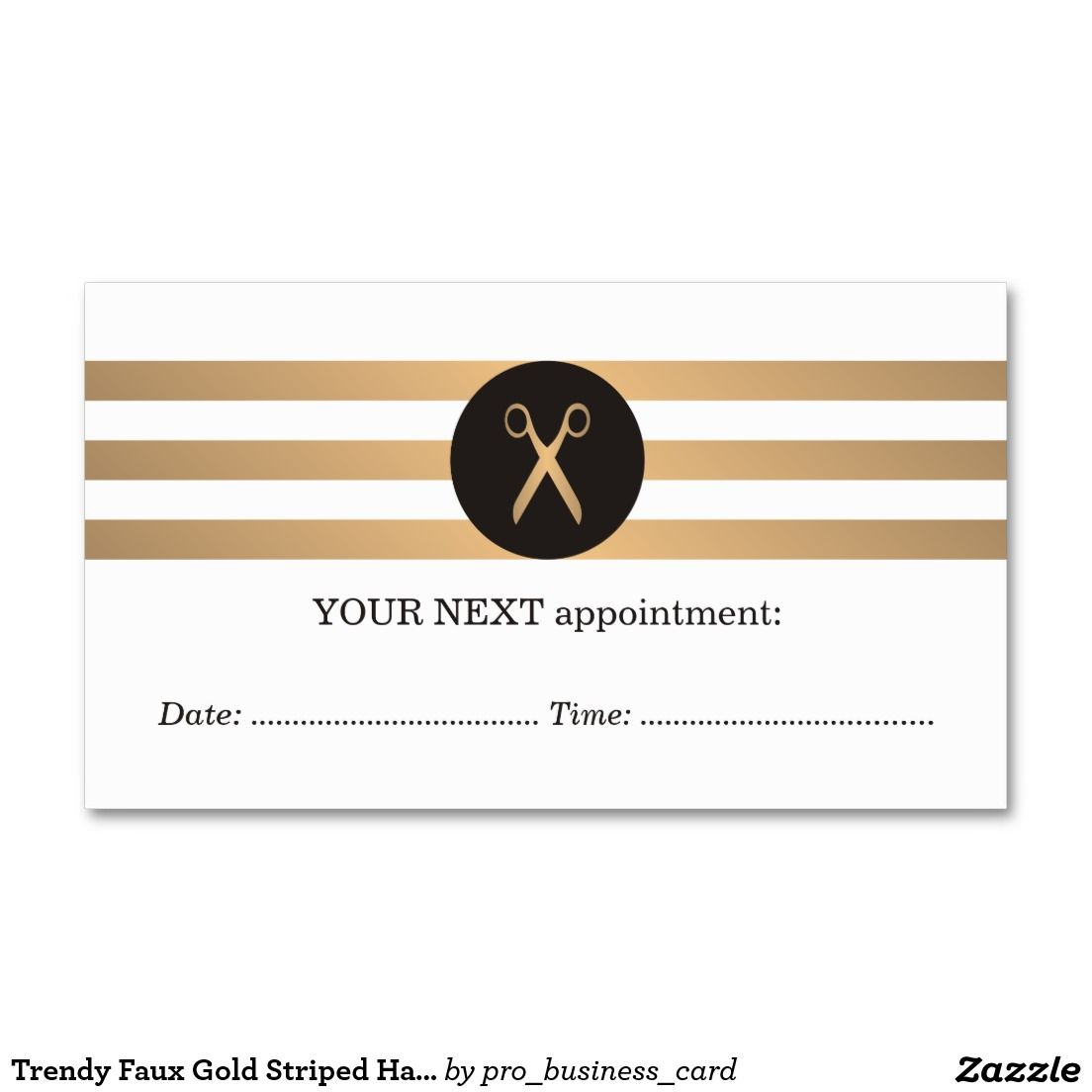 Trendy Faux Gold Striped Hair Appointment Card | Appointment Cards ...