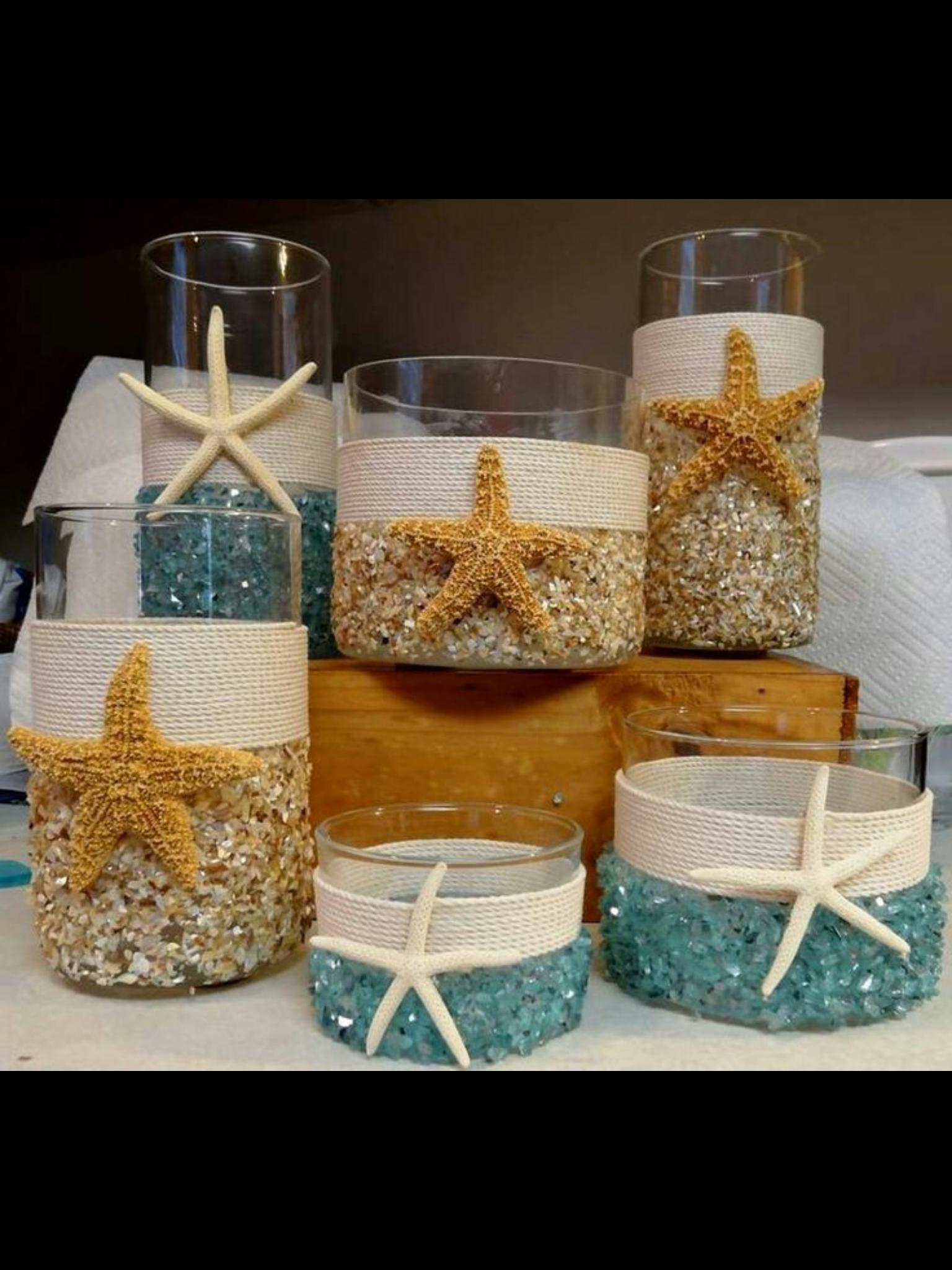 Pin By Salmaalmamari22 On Seashell Crafts In 2020 Beach Candle Beach Diy Beach Candle Holder