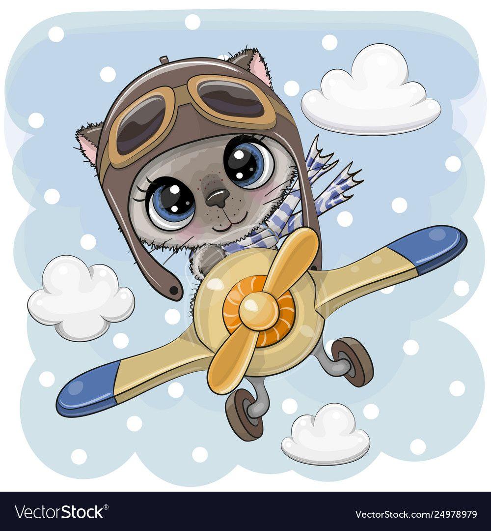 Cute Kitten Is Flying On A Plane Vector Image On Vectorstock Cute Drawings Kittens Cutest Cute Cartoon Characters
