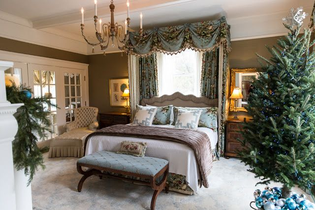 master bedroom blue brown canopy traditional christmas walk house tour 2016