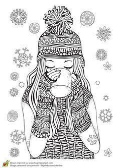 Dessin à colorier pour un hiver zen, un chocolat chaud
