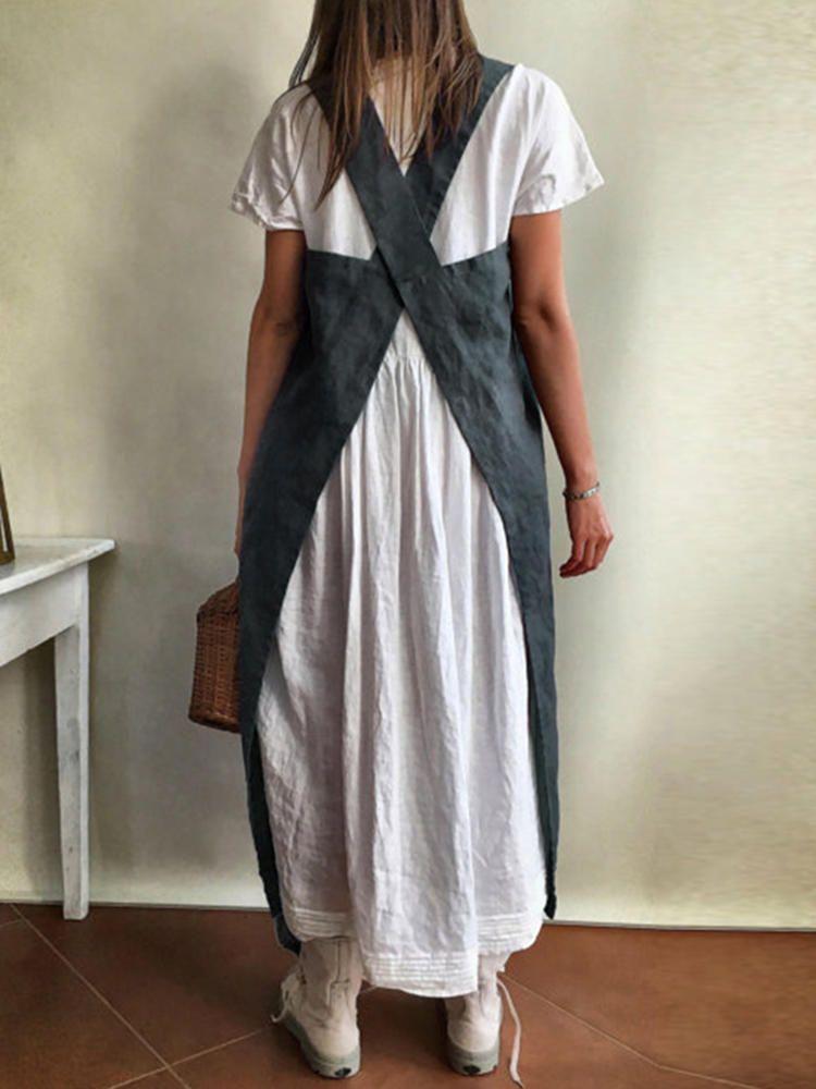 110f5cede3 Women Kitchen Brief Solid Color Cotton Dress Linen Aprons - Banggood Mobile