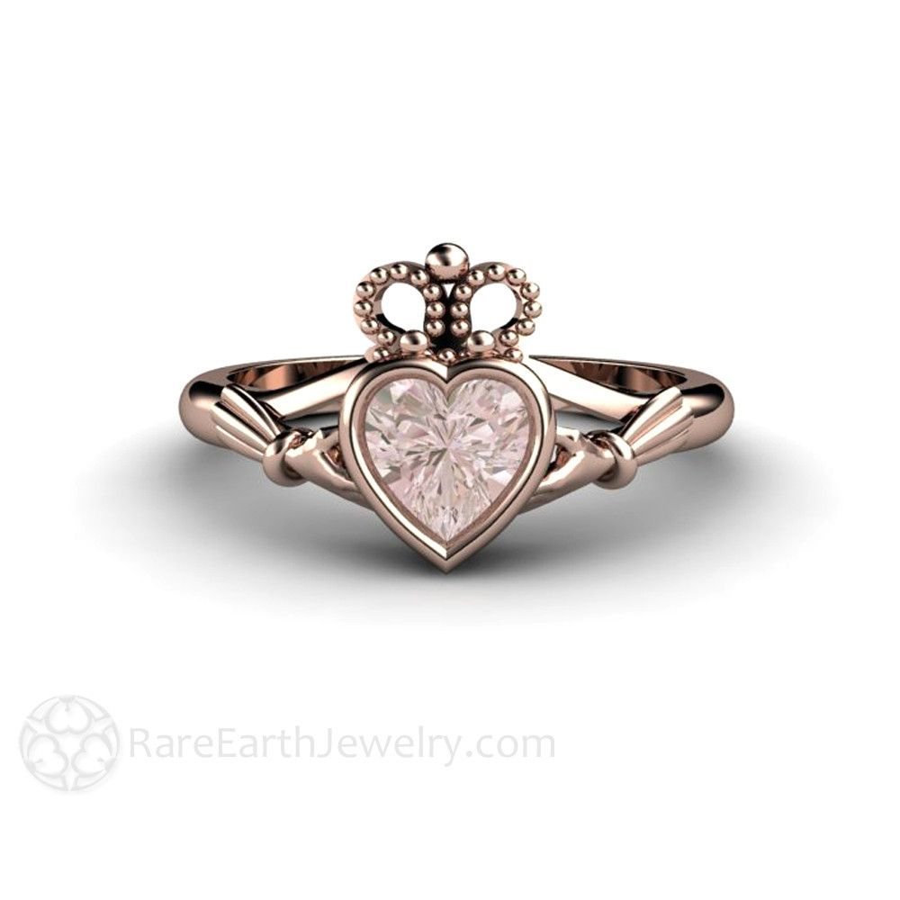 morganite claddagh ring engagement ring or promise